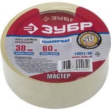 """Лента ЗУБР """"МАСТЕР"""" клеящая, прозрачная, усиленная прочность, толщина 50 мк, 38мм х 60м"""