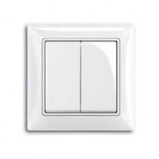 Выключатель 2-клавишный выключатель, альпийский белый