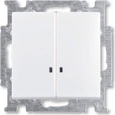 Выключатель 2-клавишный, с подсветкой, альпийский белый