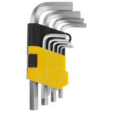 """Набор STAYER Ключи """"MASTER"""" имбусовые короткие, Cr-V, сатинированное покрытие, пластик. держатель, HEX 1,5-10мм, 9 пред"""