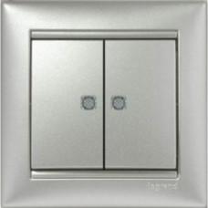 Выключатель 2-х клавишный с подсветкой (770128)