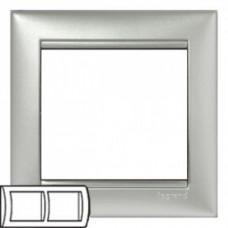 Рамка 2 поста горизонтально алюминий